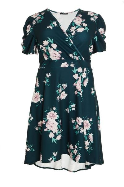 Curve Green Floral Dip Hem Dress